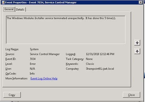 Windows Modules Installer - System Event Log Entry