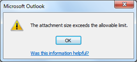 The attachment size exceeds the allowable limit