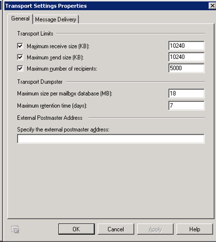 Transport Settings Properties